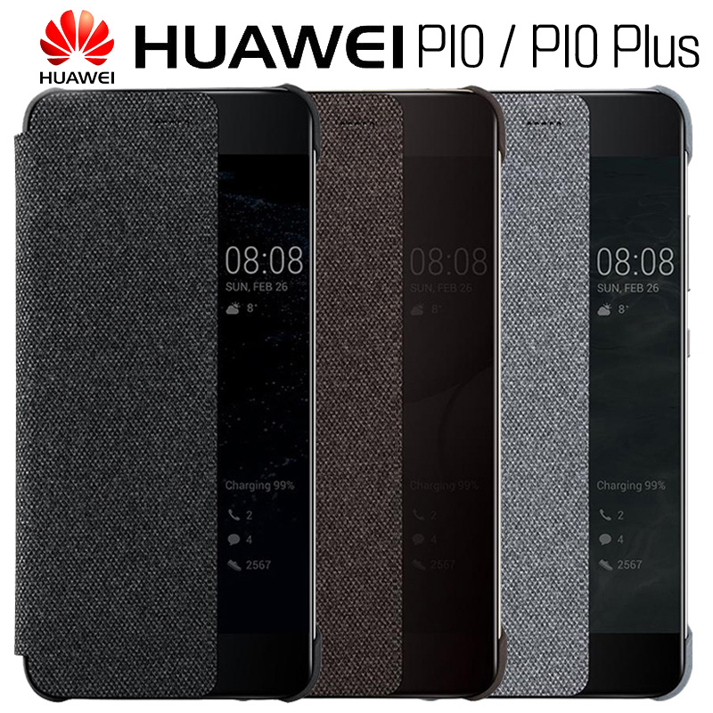 HUAWEI P10 caso Original oficial inteligente ventana de lona de cuero Flip caso P10 Plus caso de negocios P10 Plus cubierta