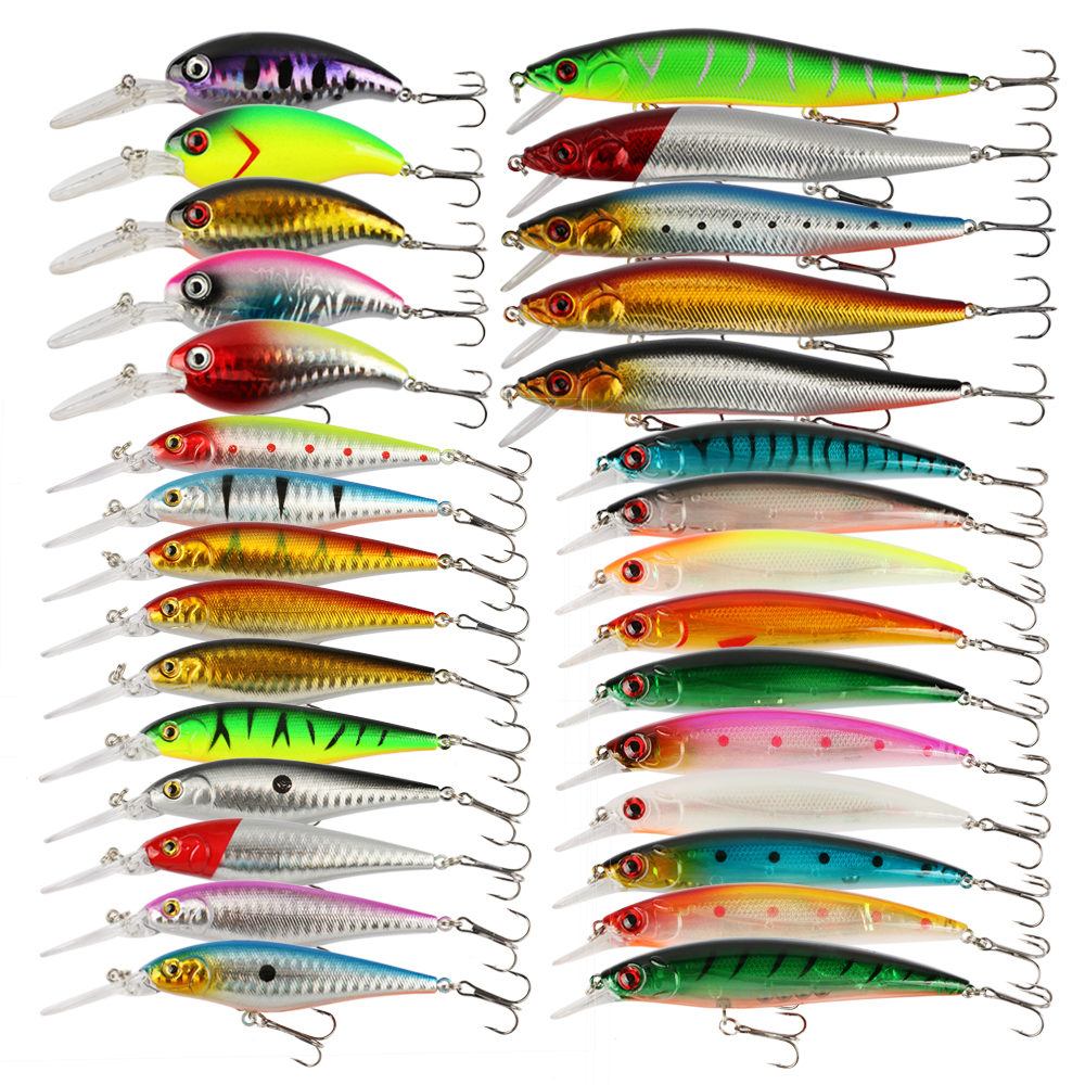 Goture 30pcs Fishing Lure Set Hard Plastic Minnow Wobbler Spinner Artificial Bait Freshwater Saltwater Fishing Lures 10pcs 10cm plastic hard fishing lures saltwater fishing bass pike deep diver floating artificial fishing wobblers lure hooks