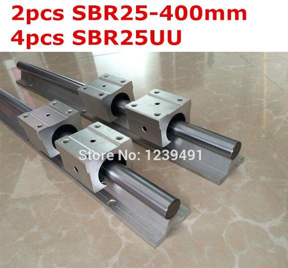 2pcs SBR25  - 400mm linear guide + 4pcs SBR25UU block 2pcs sbr25 1200mm linear guide 4pcs sbr25uu block for cnc parts