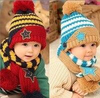 2016 ילדי כובע חם + צעיף כובע תינוק חמישה כוכבים שני חתיכה להגדיר פעוטות Boys & Girls כובעי חורף מתנות, תינוק סריגה צעיף דפוס