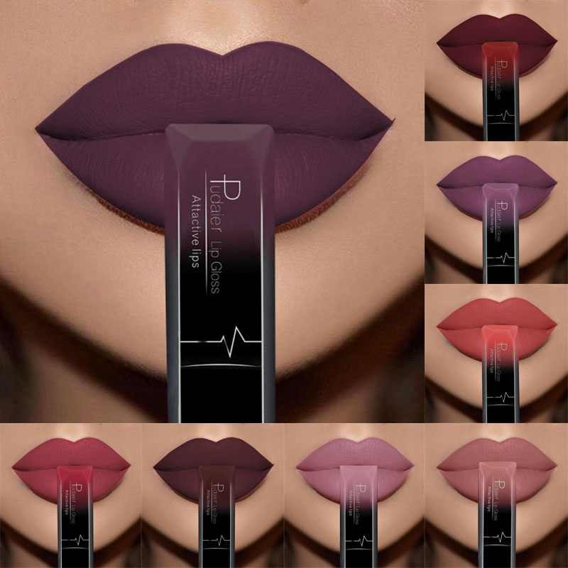 PUDAIER Women Beauty Lip Makeup Sexy Long Lasting Waterproof Lip Gloss Matte Nude Liquid Lipstick Cosmetic Mother GIFT