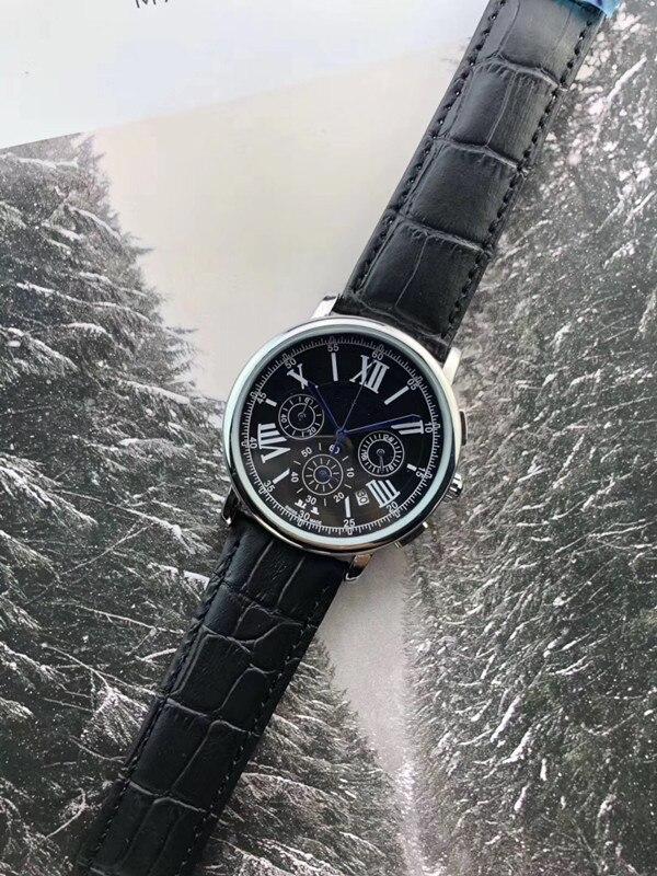2019 marque de luxe célèbre Unique montre en cuir à Quartz homme grande montre hommes relogio masculino - 3