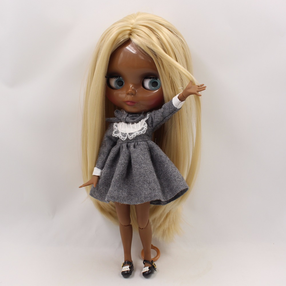 Neo Blythe Doll with Blonde Hair, Black Skin, Shiny Face & Jointed Body 4