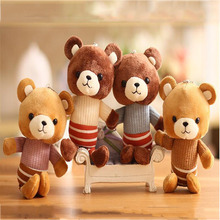 Korean Version Of The Striped Bear Plush Toy Pendant Cute Children Doll Key Chain Bag Ornaments Holiday Wedding Gifts