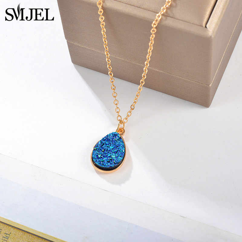 Smjel pedra geométrica druzy charme colar gargantilha moda resina cristal pedra colar marca jóias para meninas