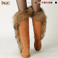 Fashion fox fur thigh long winter snow boots for women sheep fur lined over the knee boots for lady sheepskin leather shoes