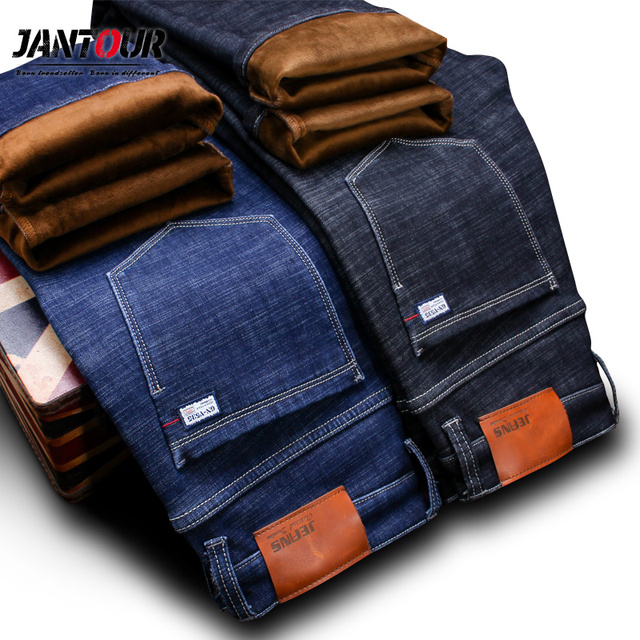 Мужские прямые джинсы jantour, зимние теплые флисовые джинсы из плотного стрейча, хлопковые штаны, большие размеры 35, 40, 42, 44, 46