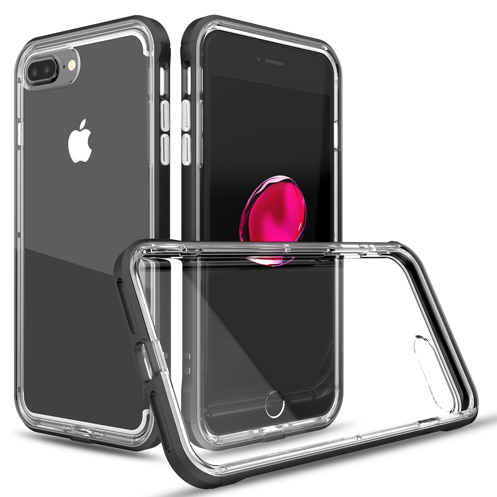 iPh 7 Plus High Quality Transparent Clear Silicone Phone Case For iPhone 7 Plus 5 5inch Colorful PC Frame Cover 2 in 1 Hybrid in Half wrapped Case from