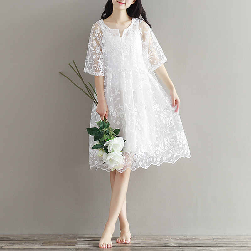 a8336ca547f43 Mori Girl Chiffon Embroidery Summer Dress High Waist Women White Lace  Dresses Half Sleeve O Neck Two Pieces Dress S-2XL Vestidos