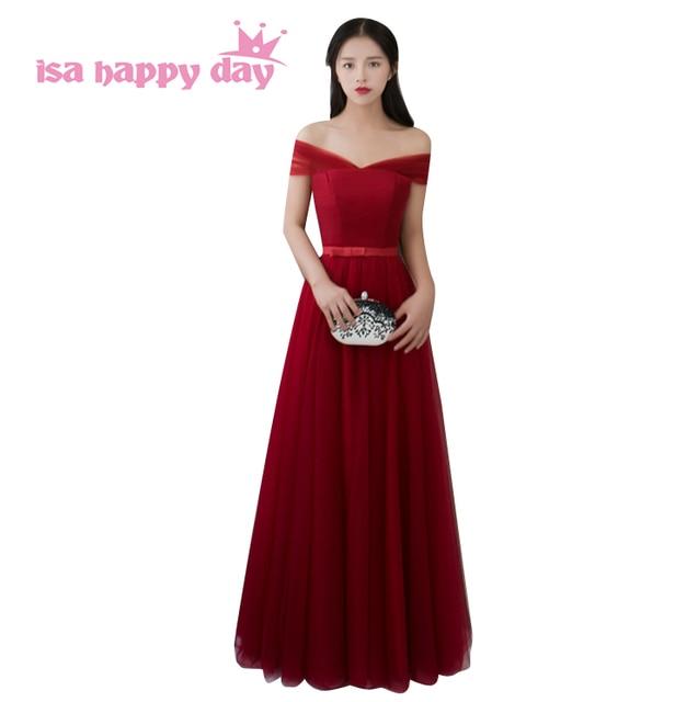 winter wine tulle bridesmaid long elegant bridesmaids dresses tulle ...