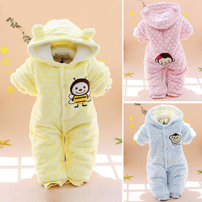 Fashion Newborn Baby Rompers Monkey Pattern Winter Thick Warm Baby Boy Girls Clothing Kid Jumpsuit Hooded Infant Outfit Clothes