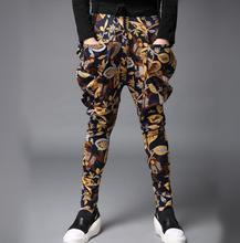 Autumn slim printing males's winter pants ft pants harem pants males informal pants novelty persona homme pantalones hombre