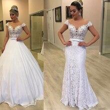 الحديثة تول والدانتيل جوهرة العنق 2In 1 فساتين الزفاف مع انفصال تنورة Bowknot قطعتين الدانتيل الزفاف اللباس