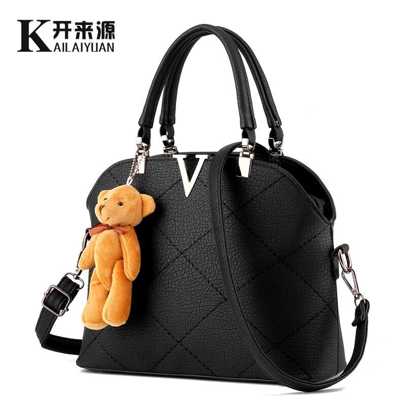 KLY 100% Véritable cuir Femmes sacs à main 2018 Nouveau sac femelle doux de dame de mode sac à main épaule sac Messenger femmes ours