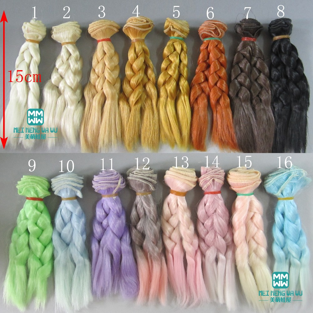 1pcs 15cm&25cm*100CM Doll wigs/hair Braid hairstyle For 1/3 1/4 1/6 BJD/SD doll DIY wigs 1pcs 15cm 25cm bjd wigs high temperature wire straight hair piece for bjd sd dollfie