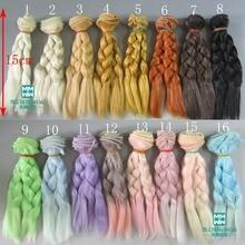 15 * 100cm Doll parykker / hår Braid frisure til 1/3 1/4 1/6 BJD / SD DIY modellering Pink gylden sort-brun Gratis forsendelse