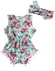 New Baby Girl Romper Summer Romper Newborn Infant Baby Girls Floral Pom Pom Romper Jumpsuit Sunsuit Outfits Clothes Set 6-24M