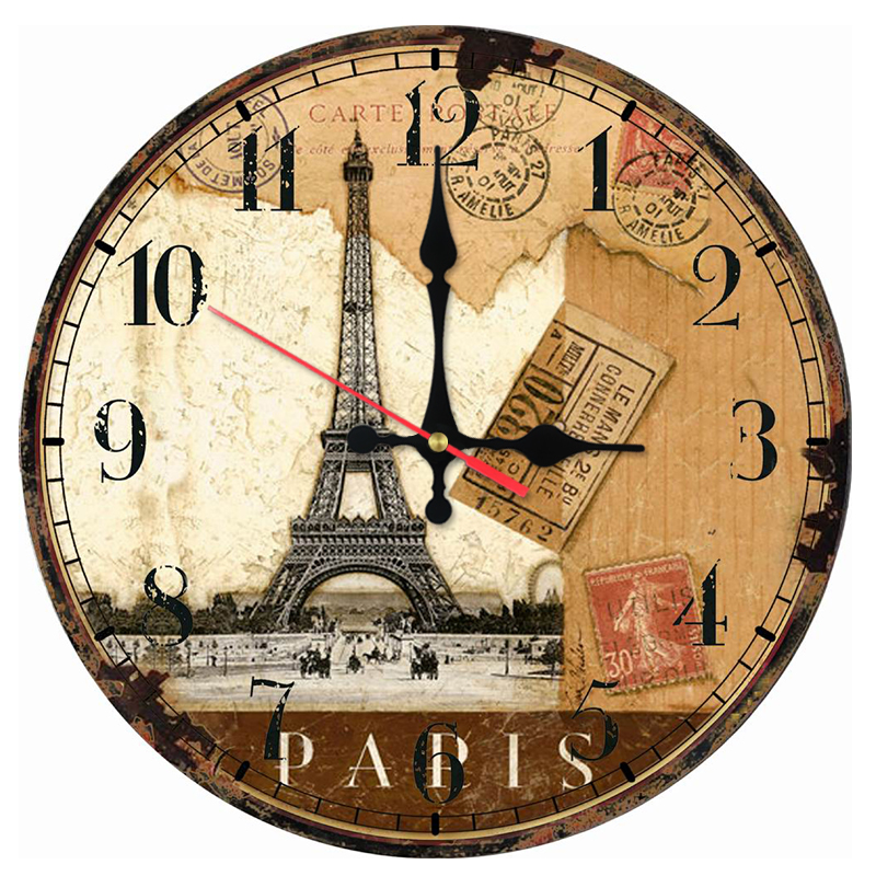 New sale wall clock wooden clocks Quartz watch modern home decoration living room new single face stickers still life style