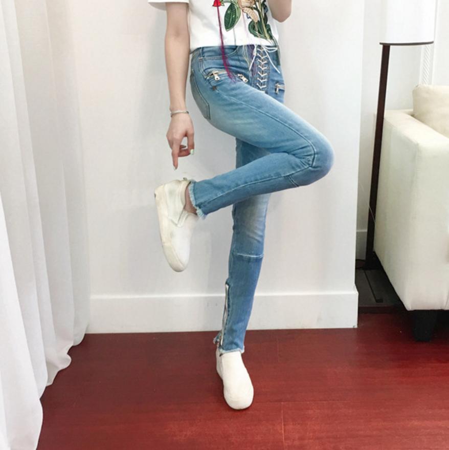 1c174afc9f36d2 Blue Del Light Blu Caviglia Matita Jeans lunghezza Merletto Up Primavera  Della L'estate Skinny Marca 2019 Nuova Denim Temperamento Pantaloni Luce Di  ...