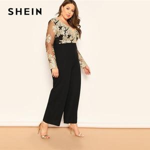 Image 4 - SHEIN Zwart Plus Size Geborduurde Contrast Mesh Lijfje Wijde Pijpen Vrouwen Vlakte Jumpsuits Diepe V hals Casual Longline Jumpsuit