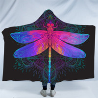 Dragonfly Hooded Blanket Mandala Colorful Sherpa Fleece Wearable Throw Blanket Adult Purple Pink Insect