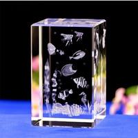 Ocean Fish Lives LASER ENGRAVED CRYSTAL Night Light Crystal Led Light With 4 Color Changing Light