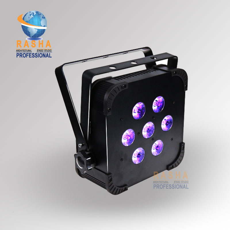 Rasha Hot 7pcs*10W 4in1 RGBW/RGBA Non Wireless Quad LED Par Can Stage Light,American DJ Light DJ Club Par Can 8x lot hot rasha quad 7 10w rgba rgbw 4in1 dmx512 led flat par light non wireless led par can for stage dj club party page 4