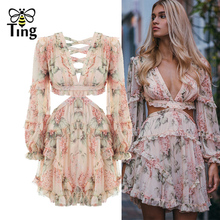 Tingfly Fashion pink Designer Runway Dress Women's Hollow Out Ruffles Floral Print Chiffon Mini Dress Sexy Backless Deep V neck
