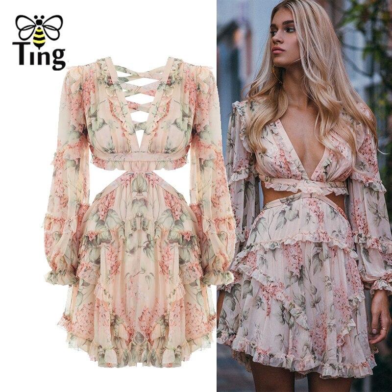 Tingfly mode rose Designer robe de piste femmes évider volants imprimé Floral en mousseline de soie Mini robe Sexy dos nu profond col en V