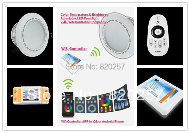 Фото 12W AC100-240V Color Temperature & Brightness adjustable led downlight set (1*downlight+1*adapter+1*remote+1*wifi controller. Купить в РФ