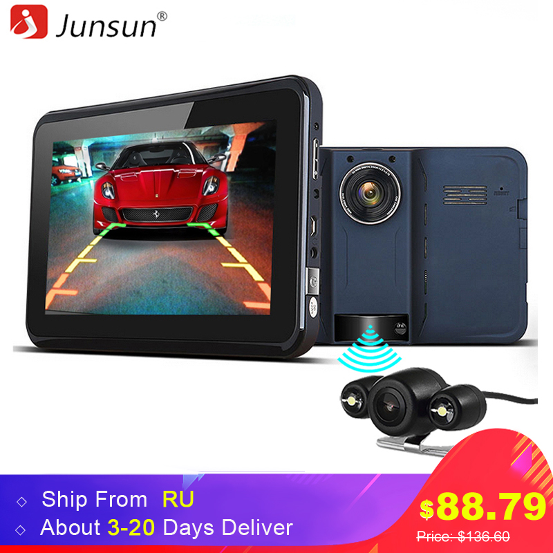 Junsun 7 inch Car GPS Navigator With DVR 2 in 1 Android Radar Detector Navigation Russia Map Gps Sat Nav ultra thin 7 touch screen lcd wince 6 0 gps navigator w fm internal 4gb america map light blue