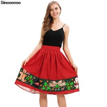 30252c5bac New Fashion Christmas Skirts Women A Line High Waist Pleated Skirt Female  Vintage Retro Elegant Evening Cocktail Party Skirt