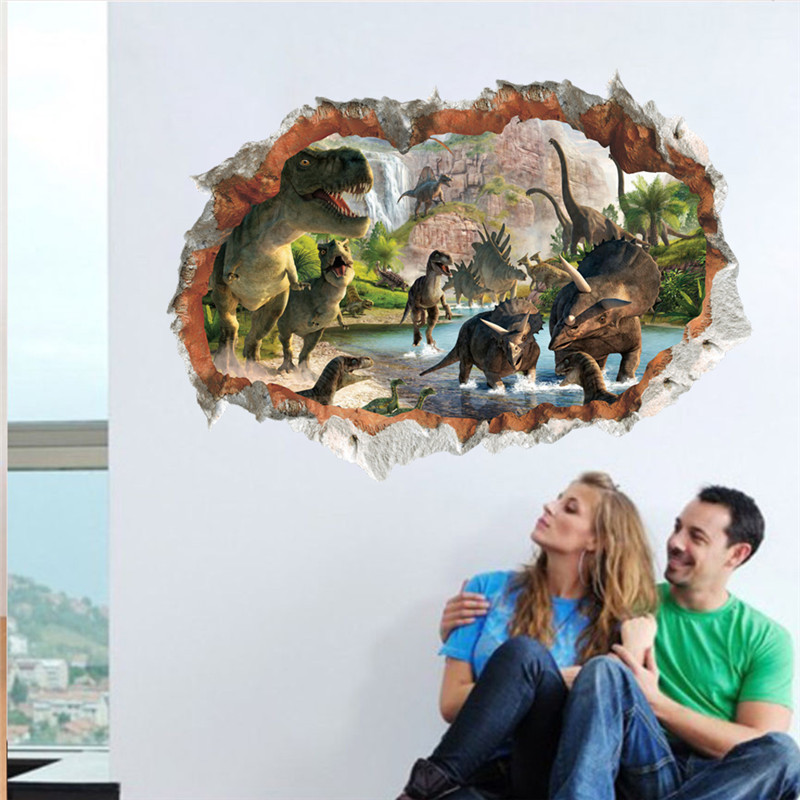 3d Vivid Dinosaur Wall Stickers For Kids Rooms Home Decoration Cartoon Movie Wall Decals Pvc Mural Diy Posters Gift