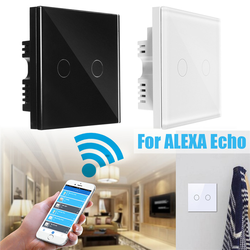 2 Gang 1 Way EU UK US Smart Remote Control Parete Light Touch Switch Pannello Di Cristallo Di Lusso Per La Connessione Wifi Amazon Alexa