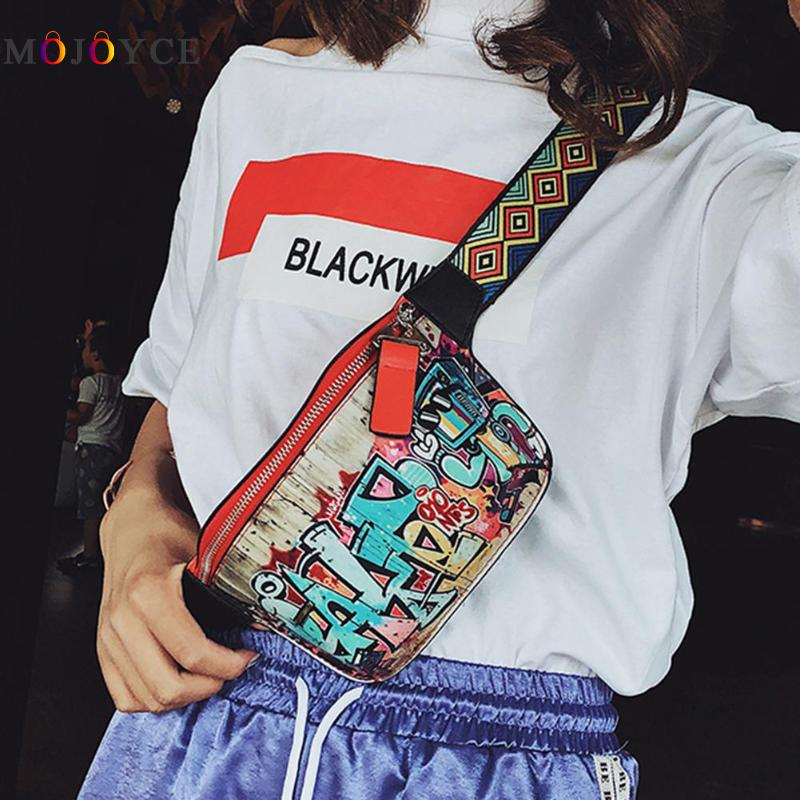 17X13Cm Hip Hop Street Fanny Pack Women Leather Graffiti -1792