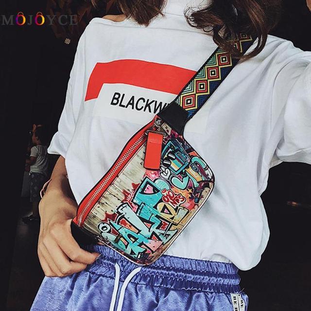 17x13cm Hip-hop Street Fanny Pack Women Leather Graffiti Shoulder Chest Waist Bag Colorful Belt Bag Heuptas Pochete