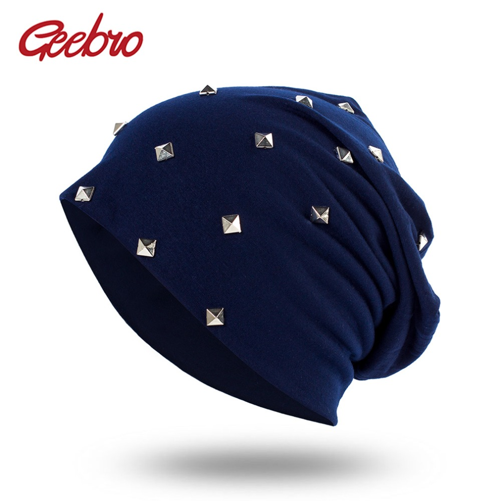 Geebro Knitted Female Hat With Silver Rivets Skullies Beanies Hats For Women Gorras Women's Punk Bonnet Beanie Hats For Girls