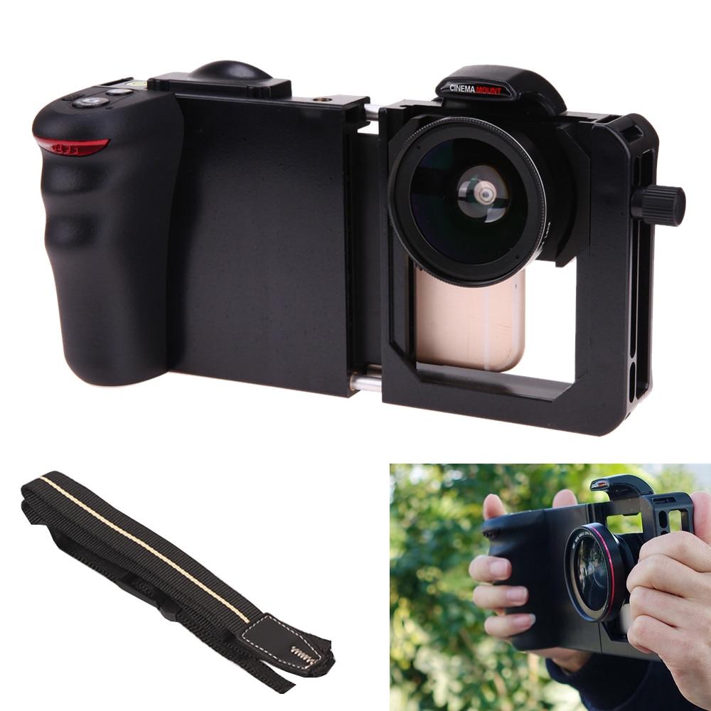 Aluminium Bluetooth Smart Phone Camera Cage Stabilizer Holder Cinema Mount + Wide Angle Macro Lens For  IPhone 7 6 5 Samsung