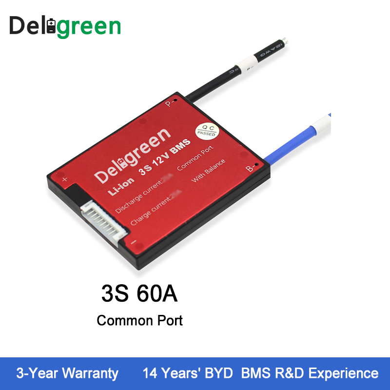 Deligreen 3S 60A 12V PCM/PCB/BMS for lithium battery pack 18650 Lithion Ion Battery Pack стоимость