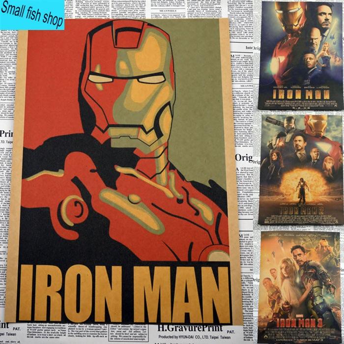 Iron Man1 2 3 Retro Movie Poster Үйге арналған жиһаз - Үйдің декоры - фото 1