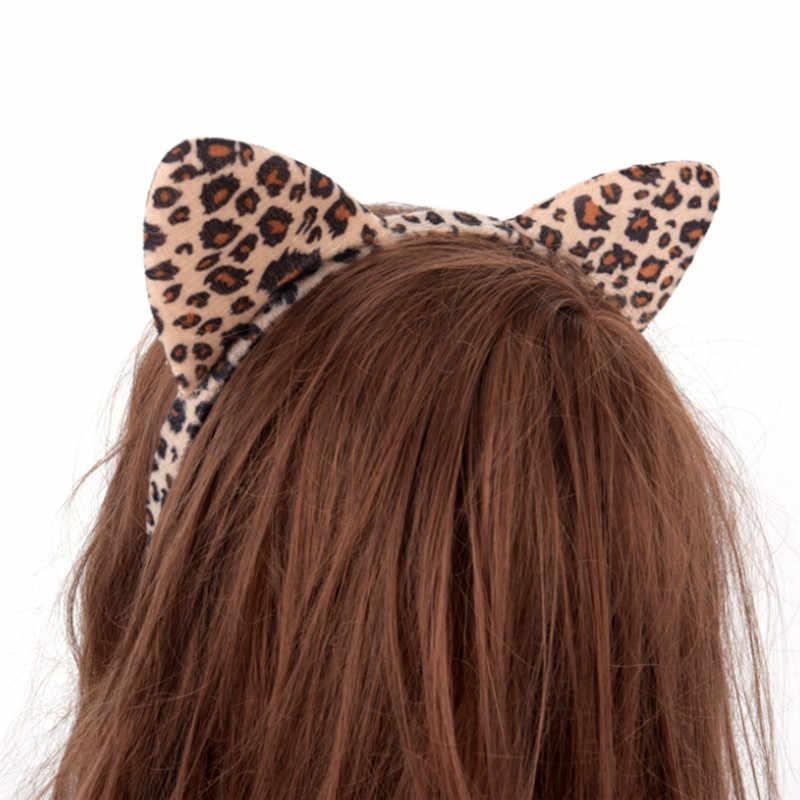 Jcaaap mulheres meninas crianças festa festival fantástico hairband de cabelo curto pelúcia tigre leopardo gato orelha bandana
