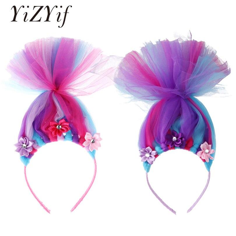 YiZYiF Girls Cartoon Hair Hoop with Flowers Ruffled Mesh Headwear Hairband Headdress for Halloween Party Cosplay Accessories