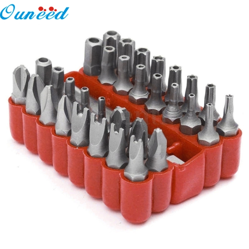 Ouneed Home Security Bit 33Pcs/Set Hex Spanners Tamper Proof Torx Spanner Screwdriver Star Hex Holder Rod 33pcs screwdriver tips security tamper proof bit set torx hex star spanner tool alloy steel nozzles bits for screwdriver tools