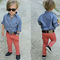 2016 Spring/Summer INS Fashion Boys Clothes 2pcs Children Clothing Sets long sleeve denim shirt+pants kids clothes baby boy