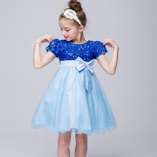 Mode mädchen sommerkleid blau party kleid für 3 4 5 6 7 8 9 10 11 12 ...