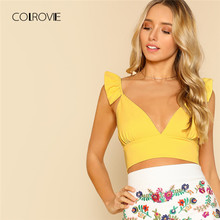 COLROVIE Plunging Ruffle Strap Crop Top 2018 New Summer Yellow Women Tank Top V Neck Sleeveless Tops & Tees Streetwear Cami