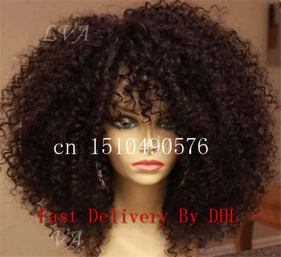 Kinky curly wigS synthetic lace front wig heat resistant hot selling Peruvian style wigs stock - Anna Fashion Hair Store store
