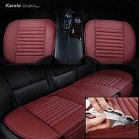 Karcle 1 יחידות כיסוי מושב מכונית עור PU & פחם במבוק אביזרי רכב מגן Pad 4 עונות כרית מושב לנשימה