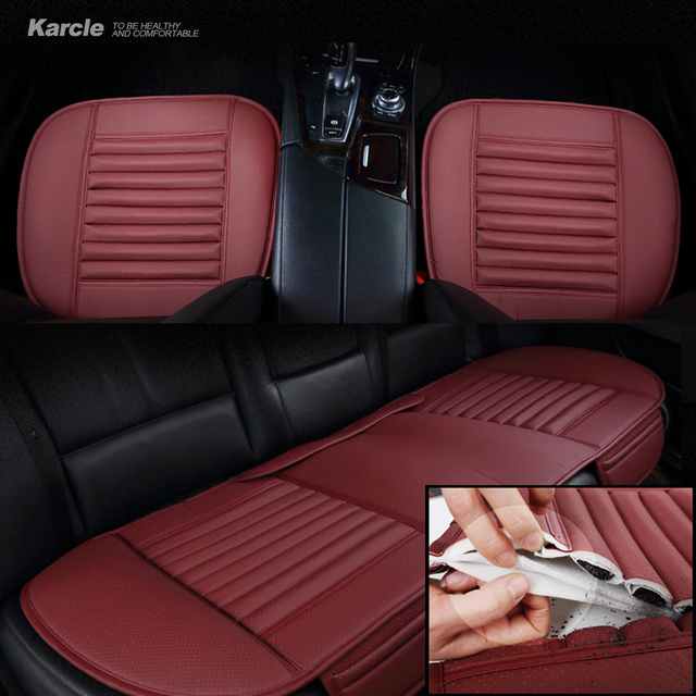 Karcle 1PCS Universal Car Seat Cushion Leather&Bamboo Charcoal Car-covers 4 Seasons Wear-resistant Car-styling Auto Accessories