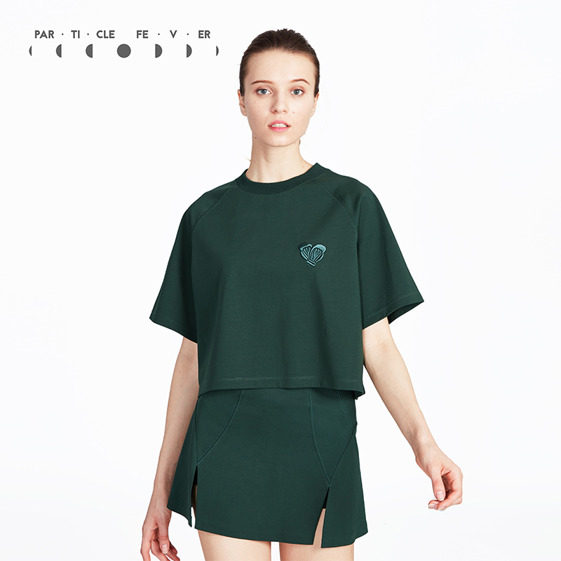 Particle Fever Dark Green Vintage Sports T Shirt Breathable Yoga Short Sleeve Running Top Loose Training Clothing For Women stylish jewel neck half sleeve sequined loose t shirt for women